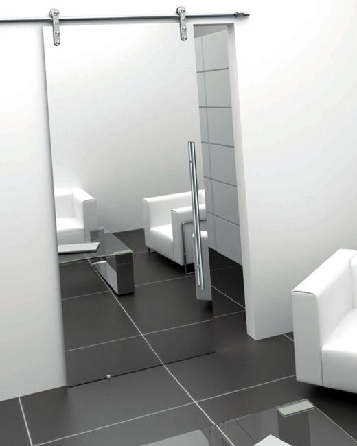 Puertas correderas con guia exterior marco minimal v for Guia puerta corredera