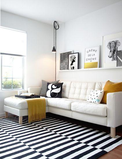 alfombras a rayas: blanco y negro | visioninteriorista