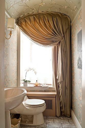 Cortina Baño Elegante:Powder Bathroom Window Treatment
