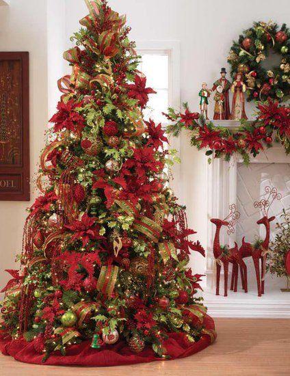 El rbol de navidad - Como decorar un arbol de navidad en rojo y dorado ...